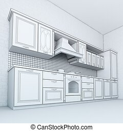 Rough Draft Of Classic Kitchen Cabinet (Third Version)