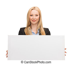 businesswoman with white blank board - happy smiling...