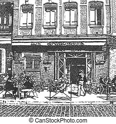 artistic drawing of a french street cafe