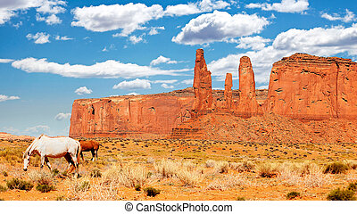 Wild horses in Monument Valley, Utah, USA
