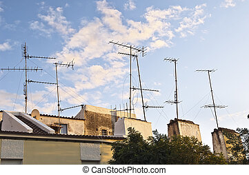 Television aerials - Bunch of old television aerials in a a...