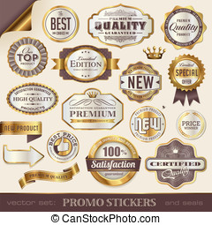 Promo stickers - golden promo stickers, labels and seals
