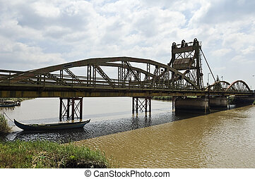 Drawbridge - Iron drawbridge over the river Sado, Alcacer do...