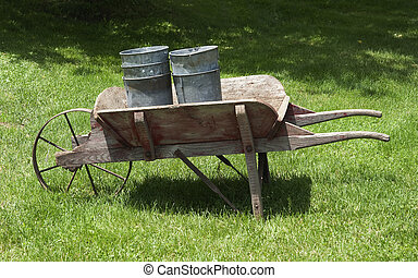old cart with cans