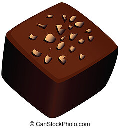 Chocolate candy with a nut crumb Vector illustration