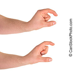 Tiny and bigger hand gesture isolated - Comparing tiny and...