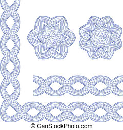 Ornamental Guilloche Seamless Pattern - Set of Borders with...