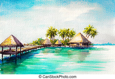 Blue sea - Over water bungalows in blue sea, watercolor...