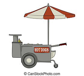 Hot dog stand - Booth stand hot dog on white background