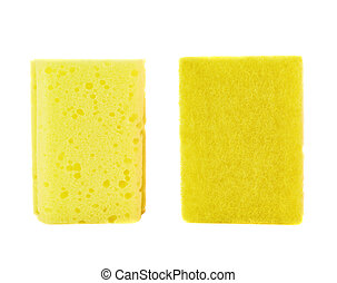 Kitchen sponge front and back view - Kitchen yellow sponge...