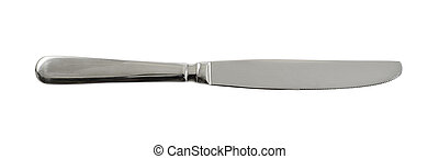 Steel metal table knife isolated over white background