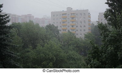 Heavy rain. High angle view from window 3 - Heavy rain and...