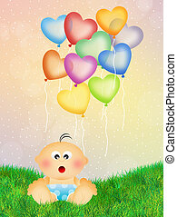 Baby with heart balloon - child with heart balloon