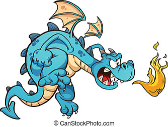 Angry blue dragon spitting fire Vector clip art illustration...