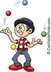 Cartoon juggler. Vector clip art illustration with simple...
