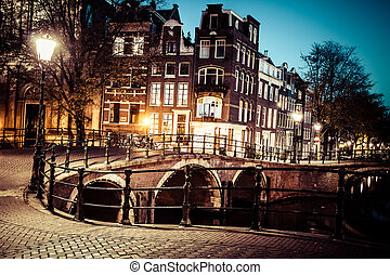 One of the famous canals of Amsterdam, the Netherlands at...