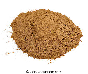 Ground Cassia Cinnamon Isolated on White Background - A pile...