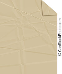 Creased Brown Paper - Brown paper background with creases,...