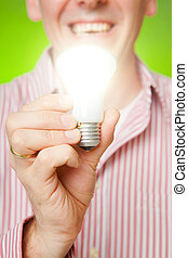 Man with bulb