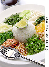 thai rice salad - khao yam, rice salad, thai cuisine