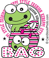 design art vector images - vector image frog in the bag