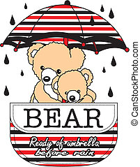design art vector images - vector drawing bears rain
