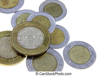 Mexican Pesos - A close-up shot of a bunch of Mexican coins....