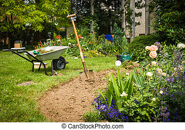 Garden - Work in garden-digging new flower beds