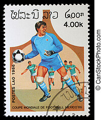 LAOS - CIRCA 1986: A Stamp printed in LAOS shows the Soccer...