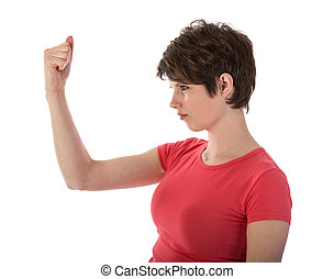 Angry woman showing her fist