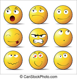 emotions smiles - Smiles showing different emotions. vector