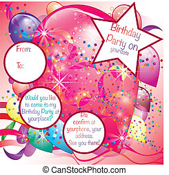 Balloons Party Invitation card for Girl