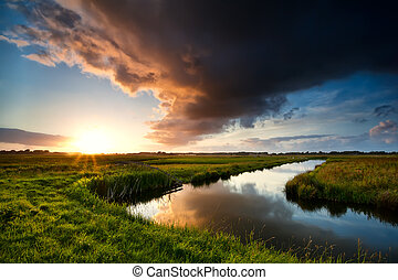 storm cloud at dramatic sunset in summertime, Holland