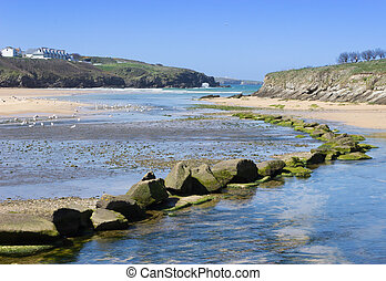 Porth Beach, Cornwall, UK - The beautiful beach at Porth,...