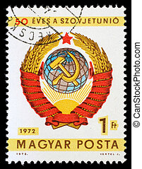 HUNGARY - CIRCA 1972: A stamp printed by Hungary, shows arms...
