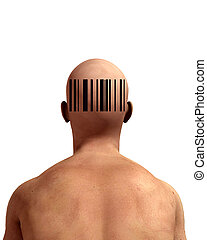 Barcode Man - An abstract image of a man representing retail...