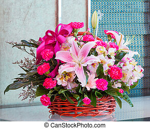 Bouquet of flower in wicker basket - Bouquet of lily and...