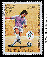 LAOS - CIRCA 1990: stamp printed by Laos, shows soccer championships, circa 1990.