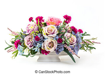 Bouquet of flowers in ceramic pot - Bouquet of rose,...