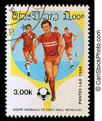 "LAOS - CIRCA 1986: A Stamp printed in LAOS shows the Soccer Players, with the inscription and name of series ""World Cup Football Championship, Mexico - 1986"", circa 1986"