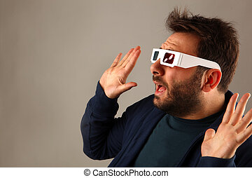 Man Wearing 3d Glasses - Portrait Of A Young Man Wearing 3d...