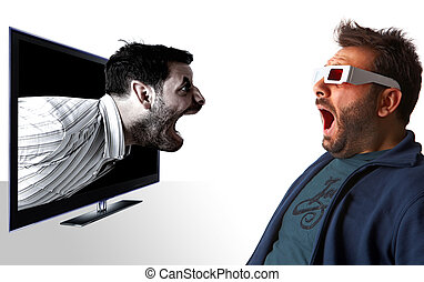 Man scared by 3d effect - Man scared by a monster on...