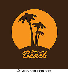 beach label over brown background vector illustration