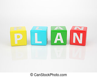 Plan out of multicolored Letter Dices - The Word Plan out of...