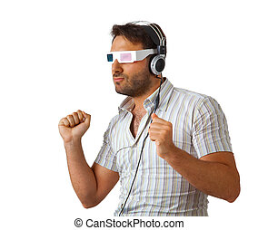 Man Wearing 3d Glasses and headphones - Portrait Of A Young...