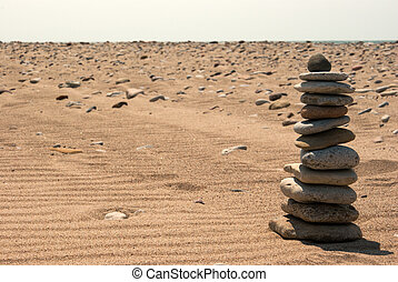 Sand_presentation - Background with sand, stones, sky and...