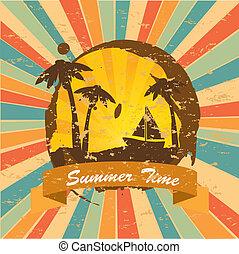 summer time over grunge background vector illustration