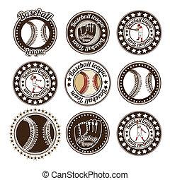 baseball seals over white background vector illustration