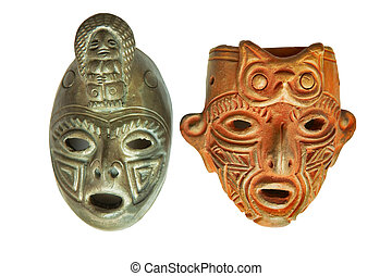 Man, woman - Traditional costa rica masks, isolated with...