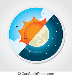 day and night design over gray background vector...